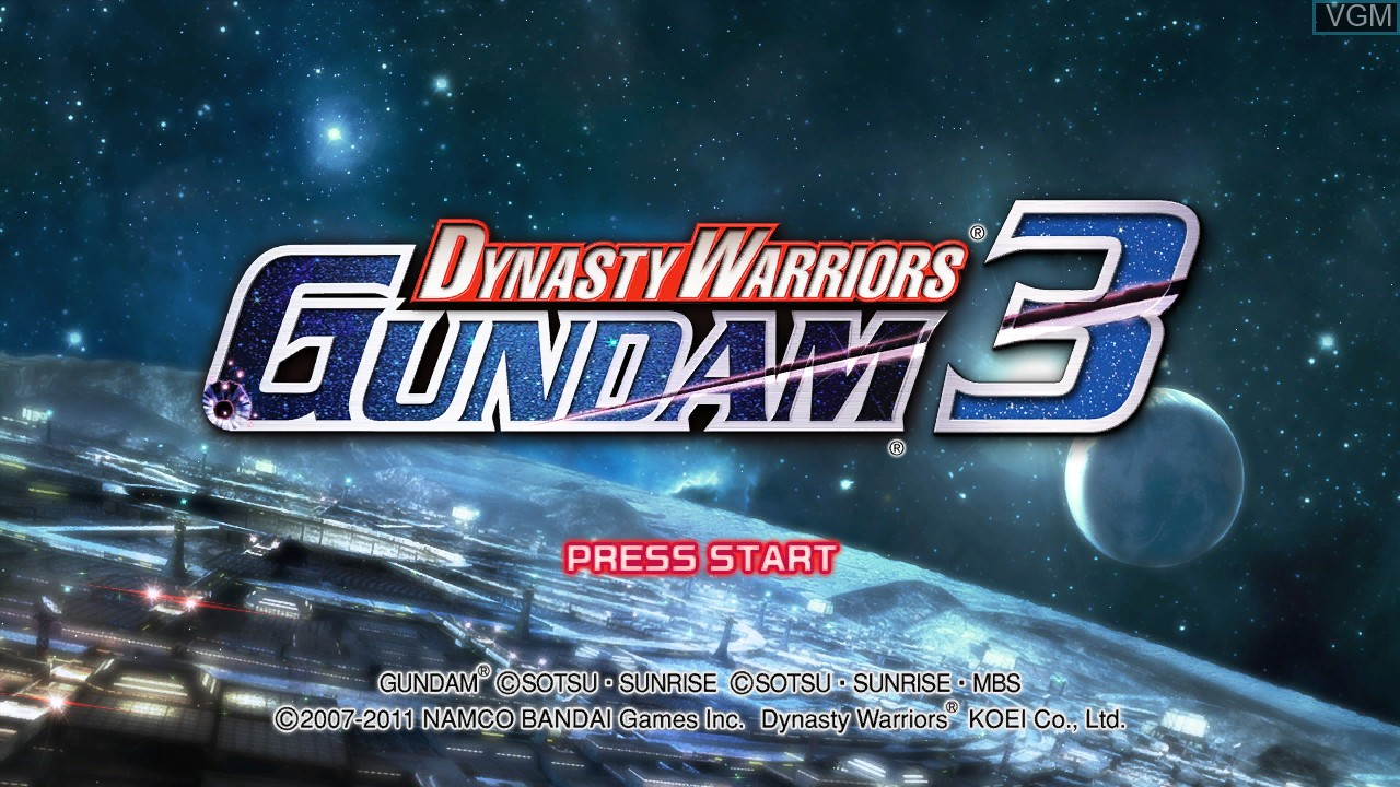 Title screen of the game Dynasty Warriors - Gundam 3 on Microsoft Xbox 360