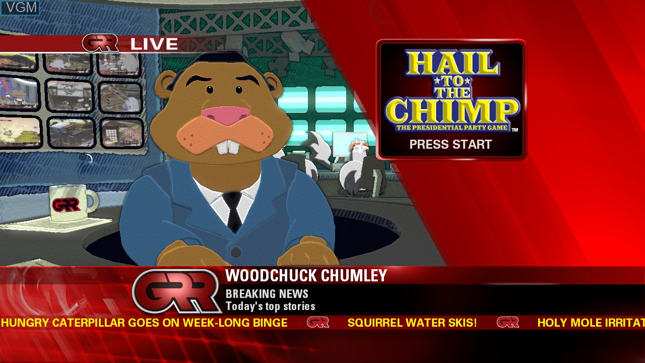 Title screen of the game Hail to the Chimp on Microsoft Xbox 360