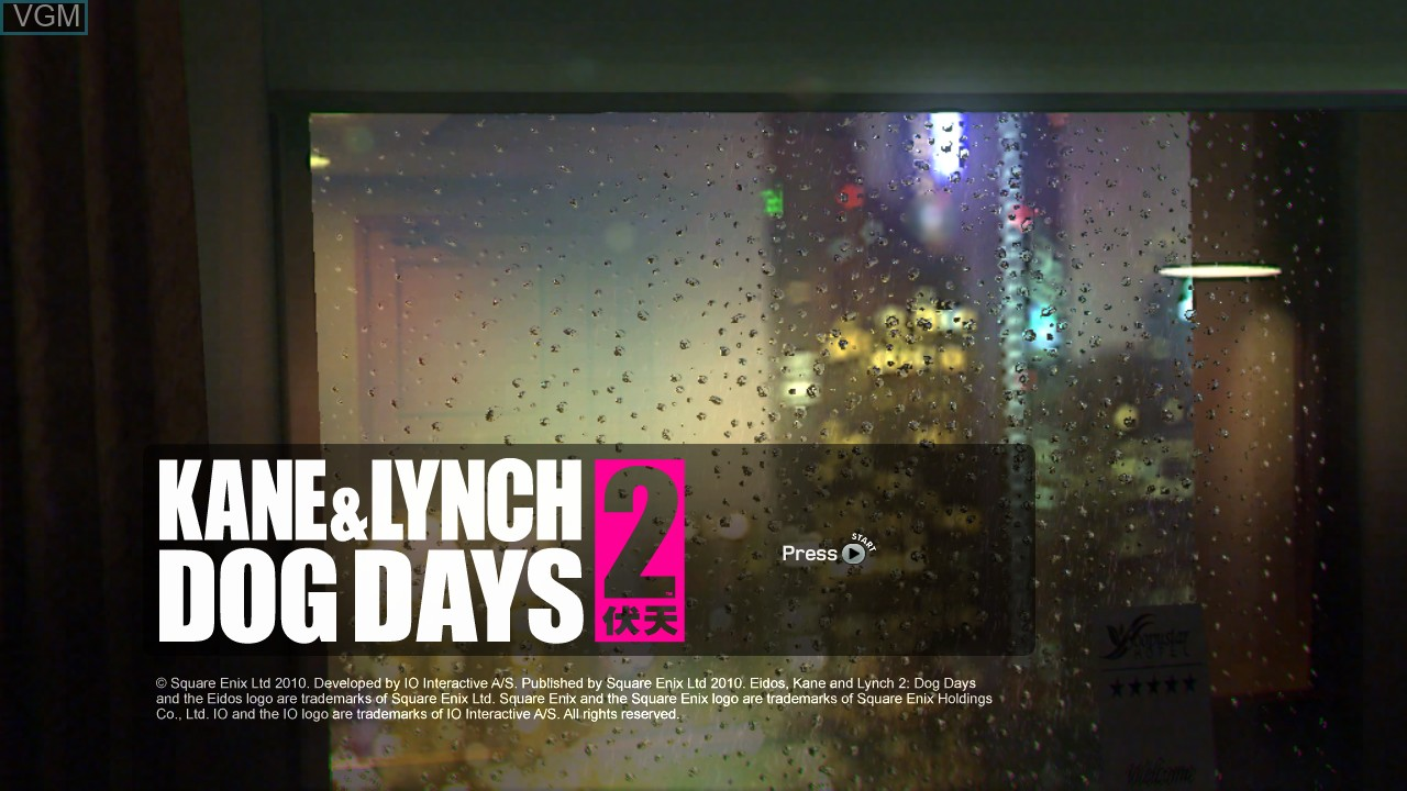 Title screen of the game Kane & Lynch 2 - Dog Days on Microsoft Xbox 360