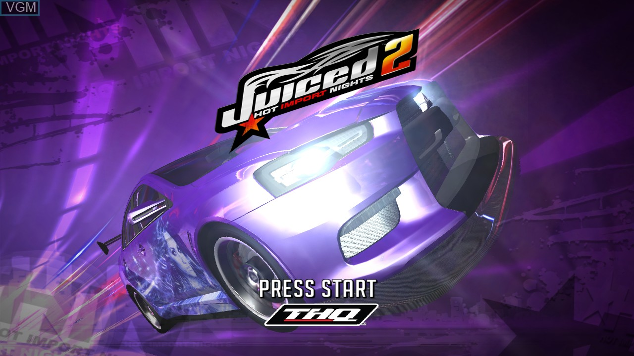 Title screen of the game Juiced 2 - Hot Import Nights on Microsoft Xbox 360