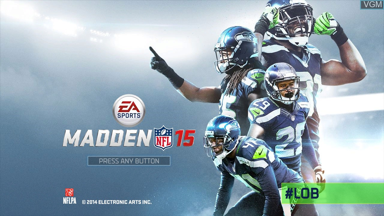 Title screen of the game Madden NFL 15 on Microsoft Xbox 360