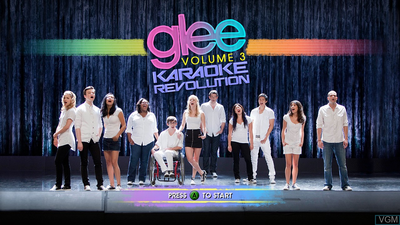 Title screen of the game Karaoke Revolution Glee - Volume 3 on Microsoft Xbox 360