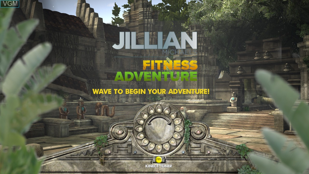 Title screen of the game Jillian Michaels' Fitness Adventure on Microsoft Xbox 360