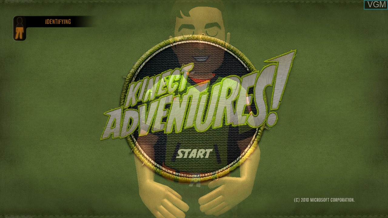 Title screen of the game Kinect Adventures! on Microsoft Xbox 360