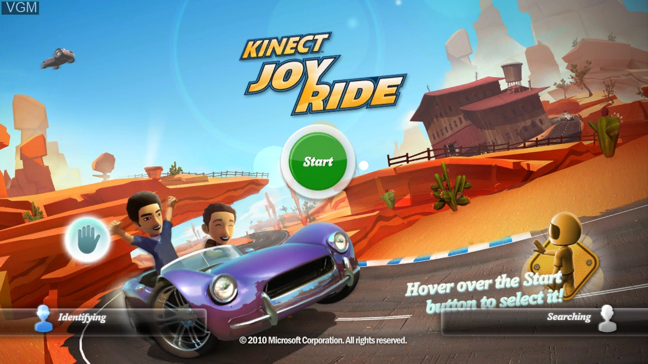 Title screen of the game Kinect Joy Ride on Microsoft Xbox 360