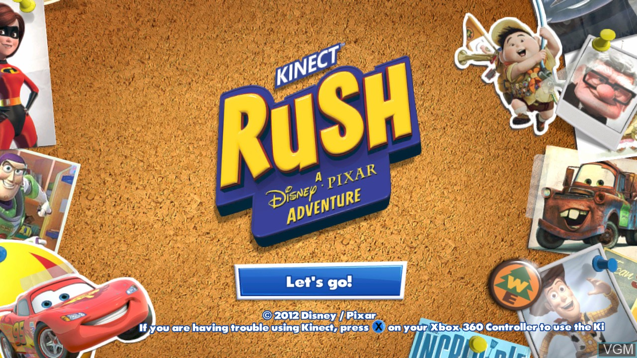 Title screen of the game Kinect Rush - A Disney-Pixar Adventure on Microsoft Xbox 360