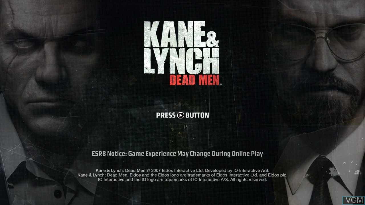 Title screen of the game Kane & Lynch - Dead Men on Microsoft Xbox 360