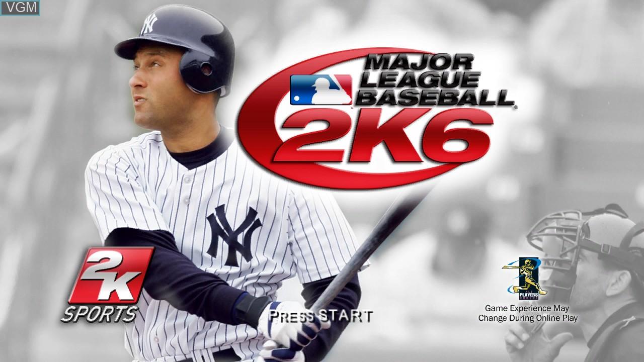 Title screen of the game Major League Baseball 2K6 on Microsoft Xbox 360