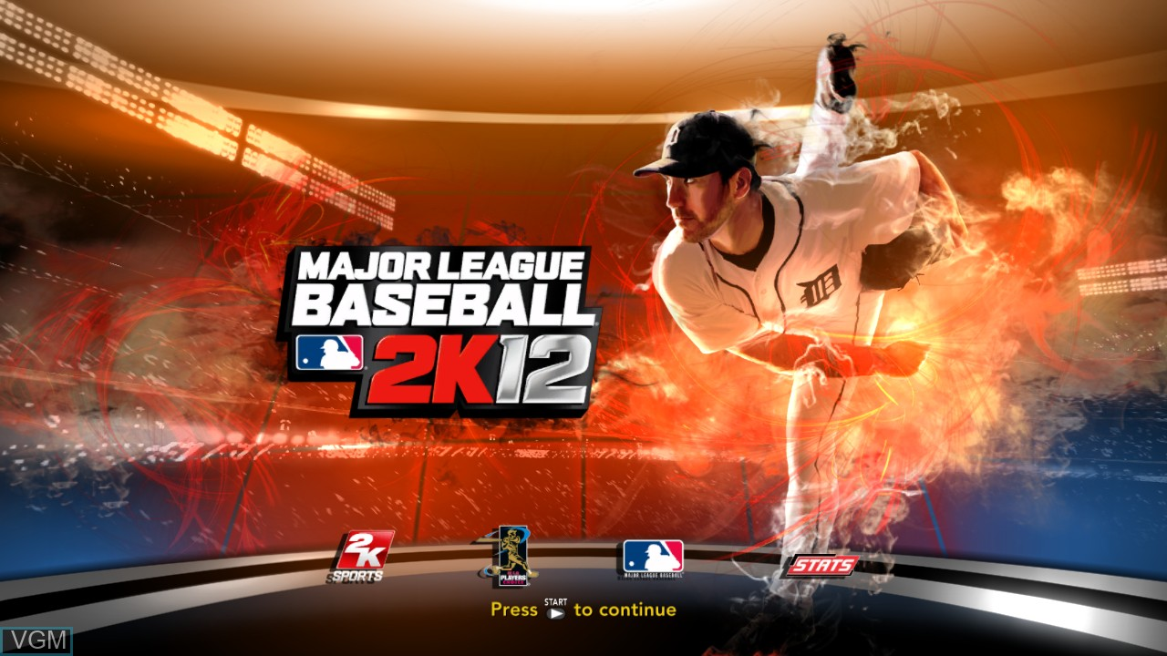 Title screen of the game Major League Baseball 2K12 on Microsoft Xbox 360