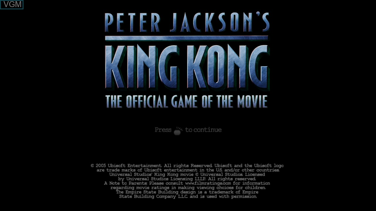 Title screen of the game Peter Jackson's King Kong - The Official Game of the Movie on Microsoft Xbox 360