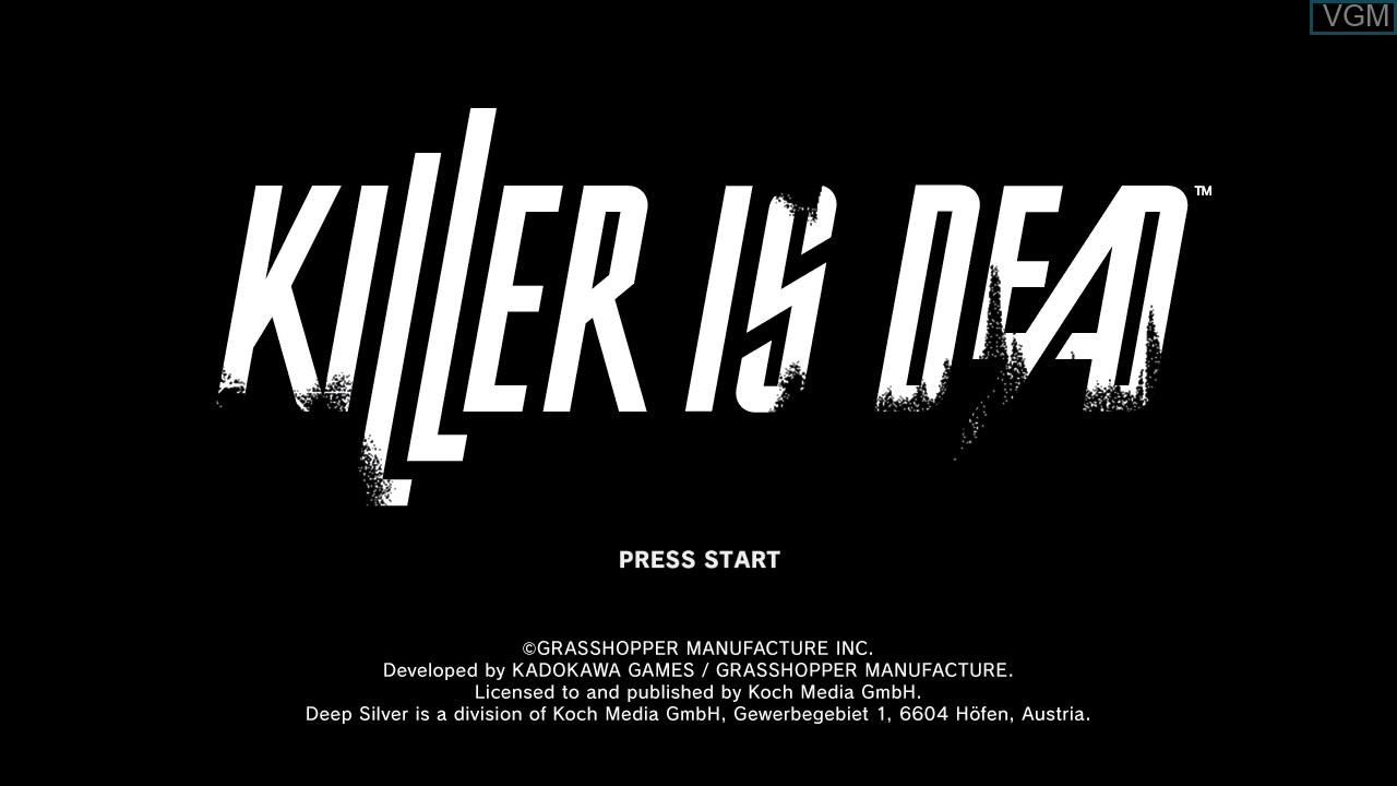 Title screen of the game Killer Is Dead on Microsoft Xbox 360