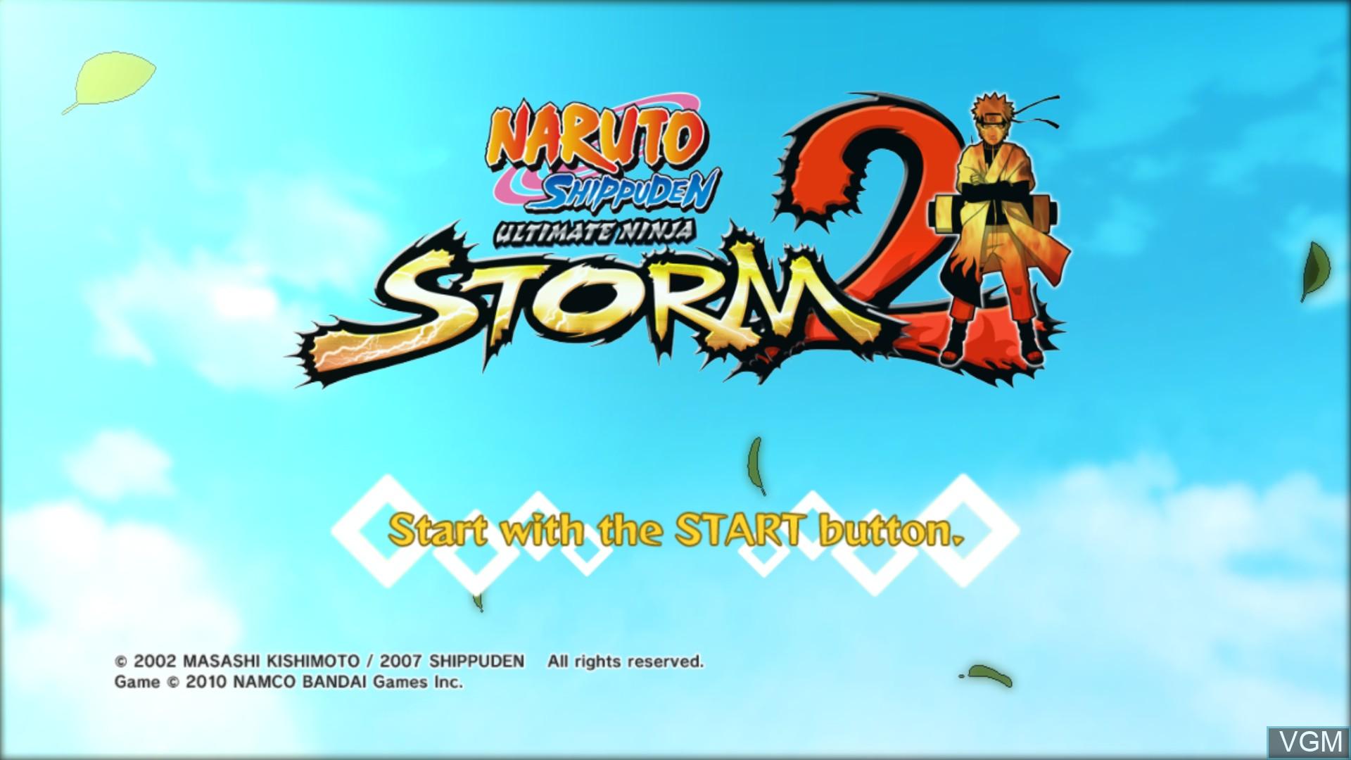 Title screen of the game Naruto Shippuden - Narutimate Storm 2 on Microsoft Xbox 360