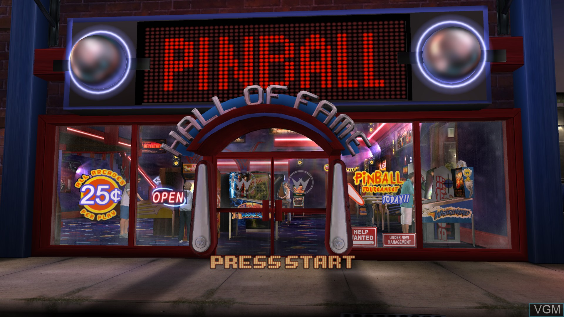Title screen of the game Pinball Hall of Fame - The Williams Collection on Microsoft Xbox 360