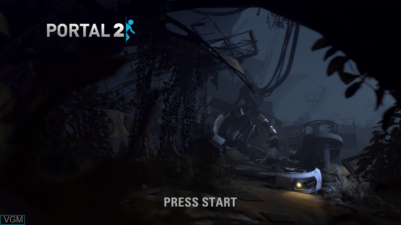 Title screen of the game Portal 2 on Microsoft Xbox 360