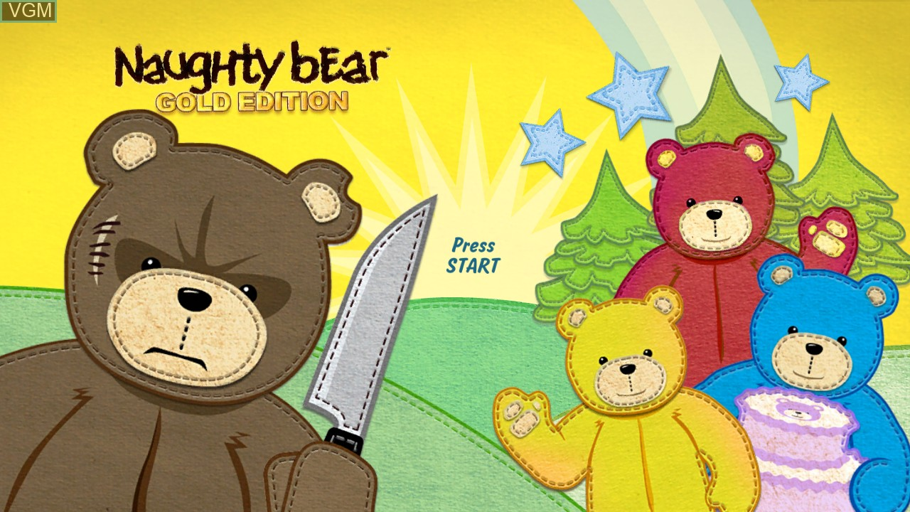 Title screen of the game Naughty Bear on Microsoft Xbox 360