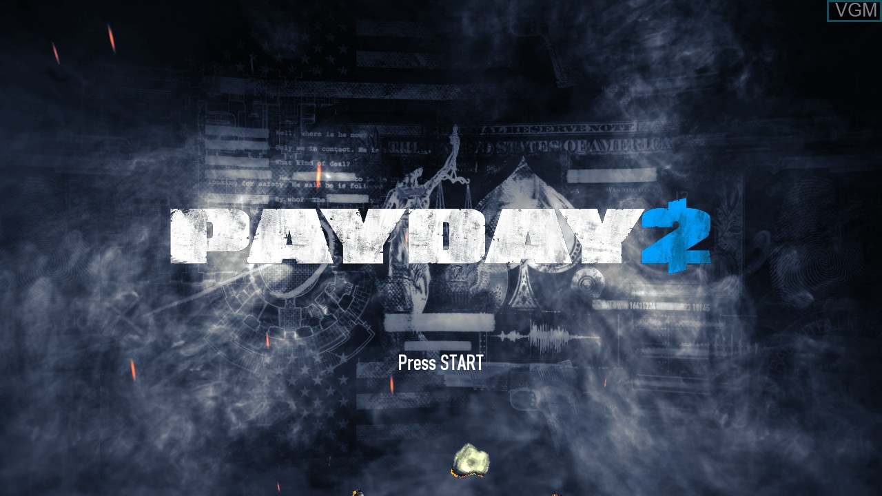 Title screen of the game Payday 2 on Microsoft Xbox 360