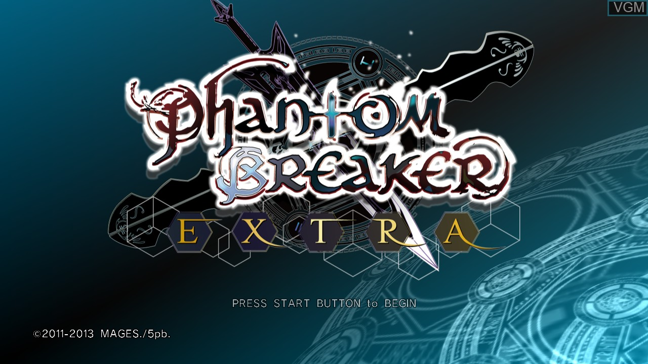 Title screen of the game Phantom Breaker - Extra on Microsoft Xbox 360