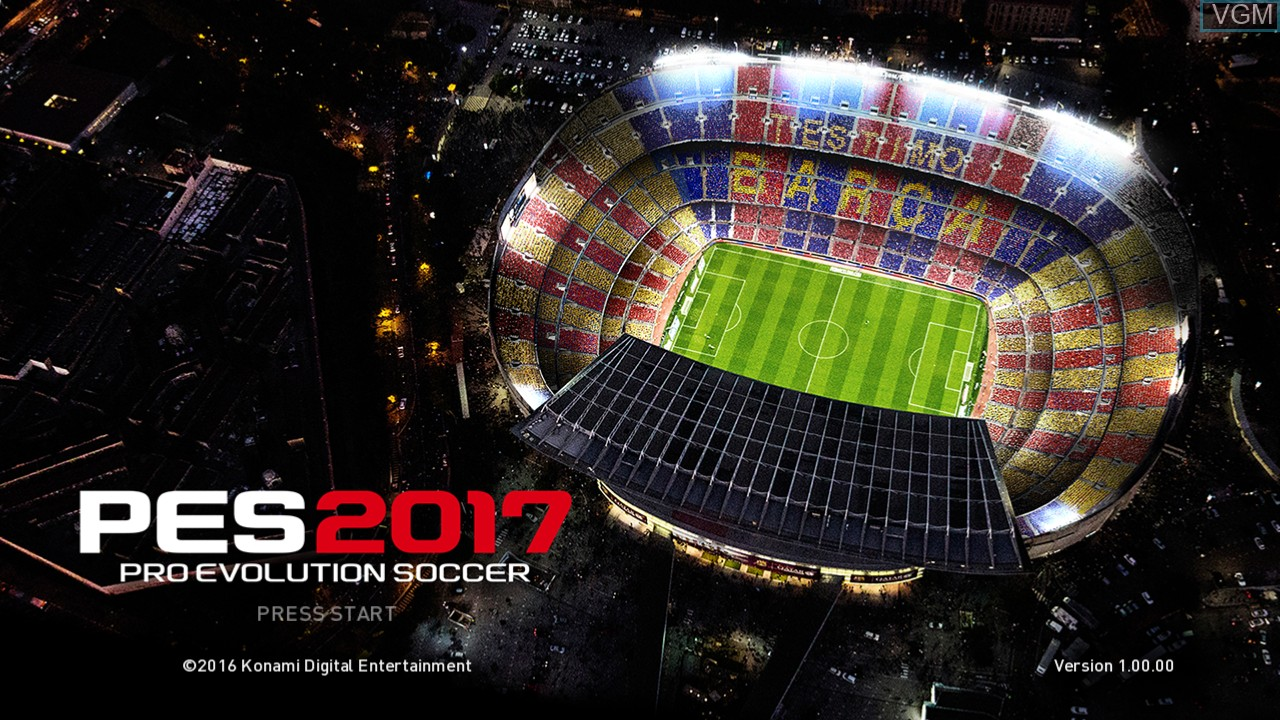 Title screen of the game Pro Evolution Soccer 2017 on Microsoft Xbox 360