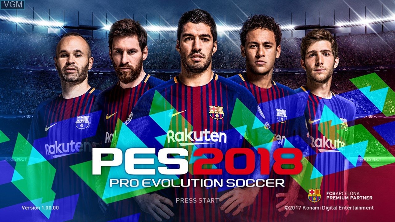 Title screen of the game Pro Evolution Soccer 2018 on Microsoft Xbox 360