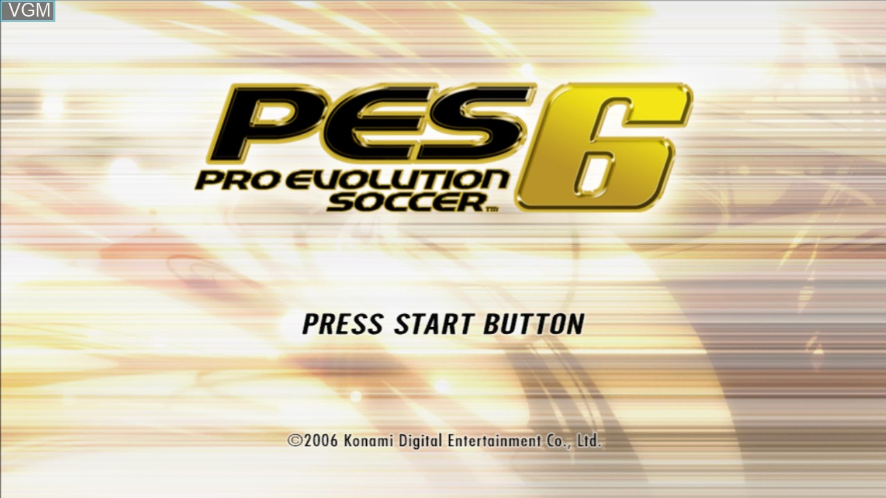 Title screen of the game Pro Evolution Soccer 6 on Microsoft Xbox 360