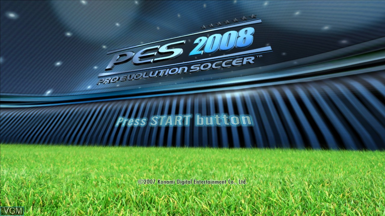 Title screen of the game Pro Evolution Soccer 2008 on Microsoft Xbox 360