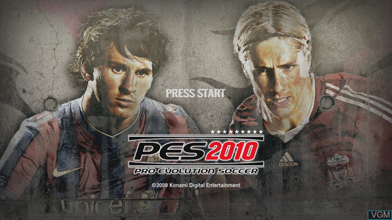 Title screen of the game Pro Evolution Soccer 2010 on Microsoft Xbox 360