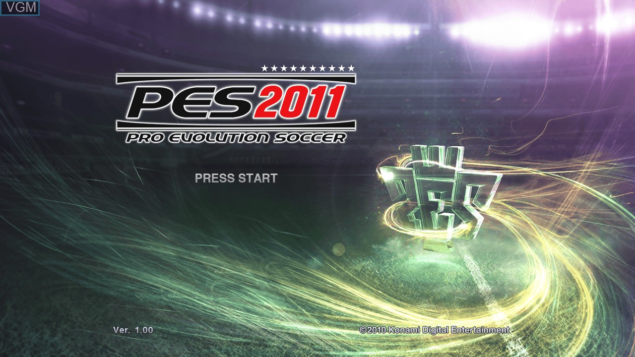 Title screen of the game Pro Evolution Soccer 2011 on Microsoft Xbox 360