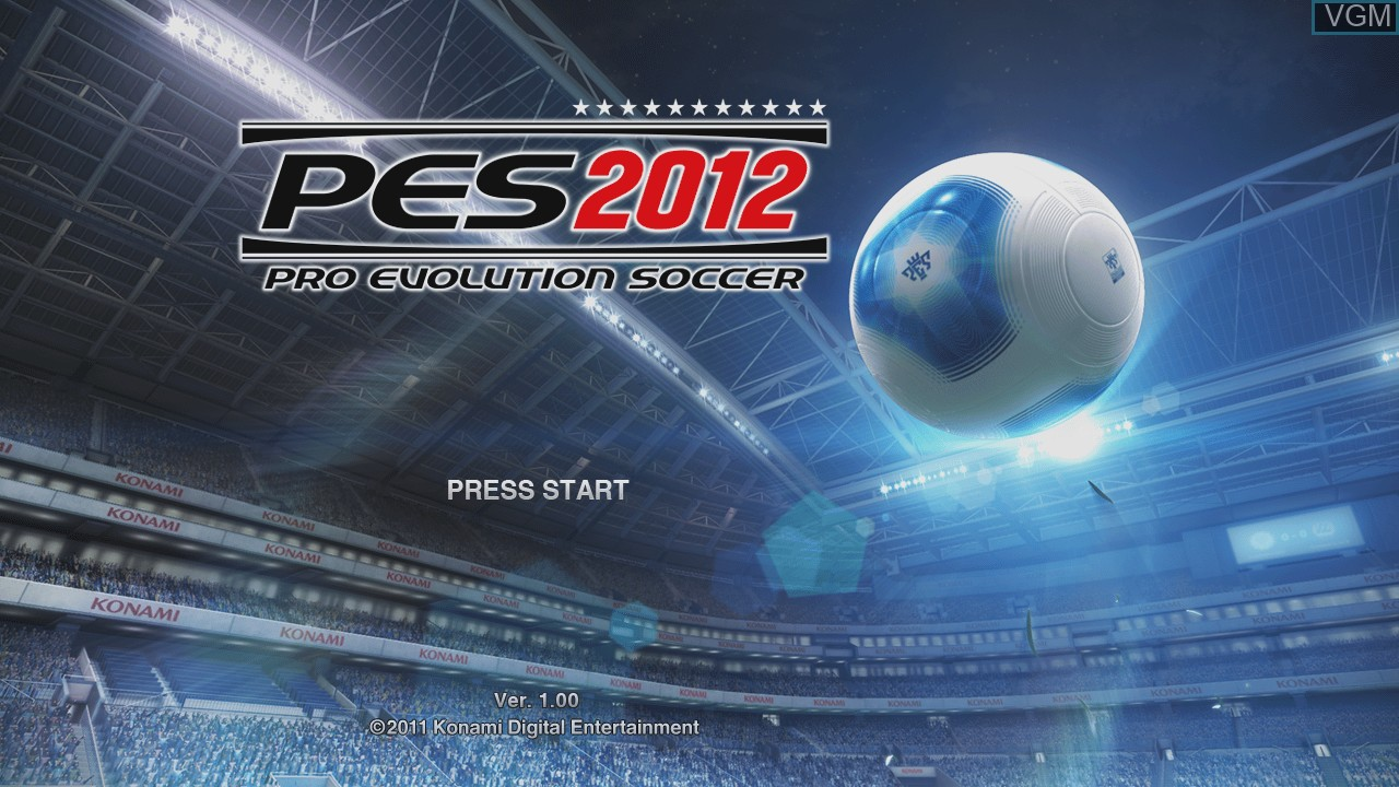 Title screen of the game Pro Evolution Soccer 2012 on Microsoft Xbox 360