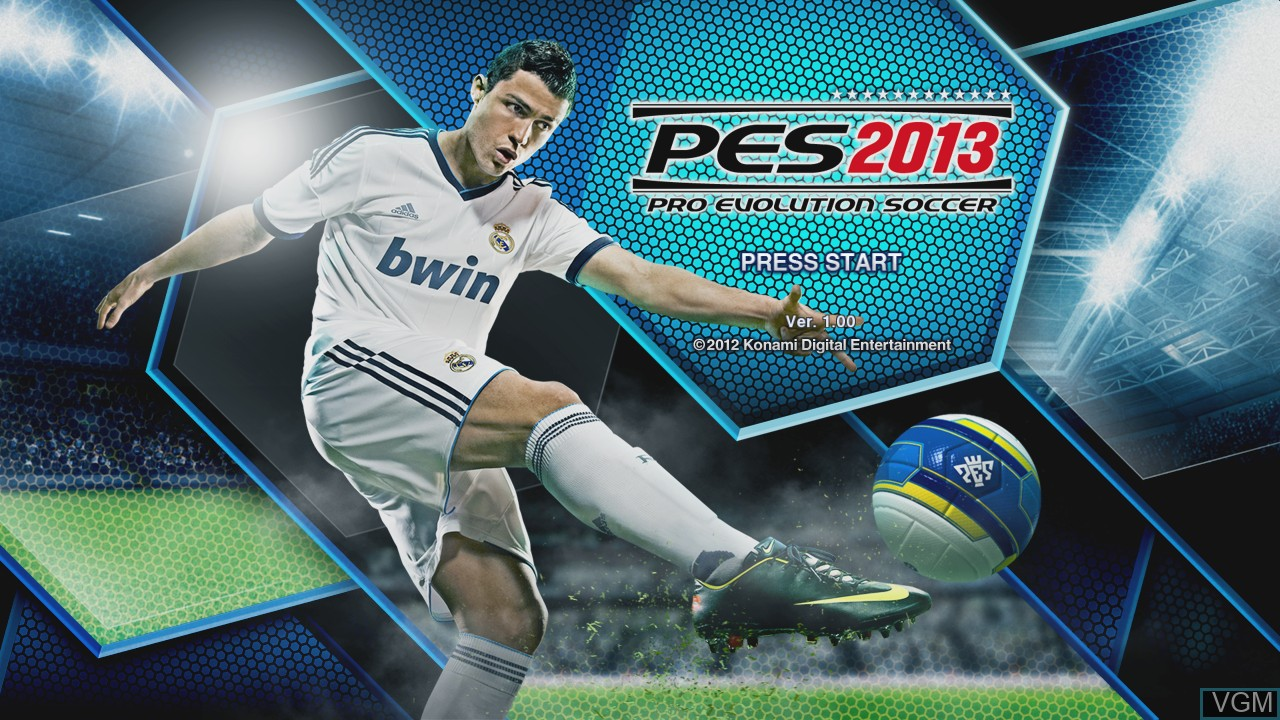 Title screen of the game Pro Evolution Soccer 2013 on Microsoft Xbox 360