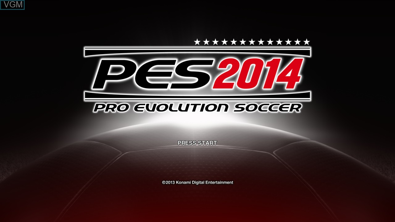Title screen of the game Pro Evolution Soccer 2014 on Microsoft Xbox 360