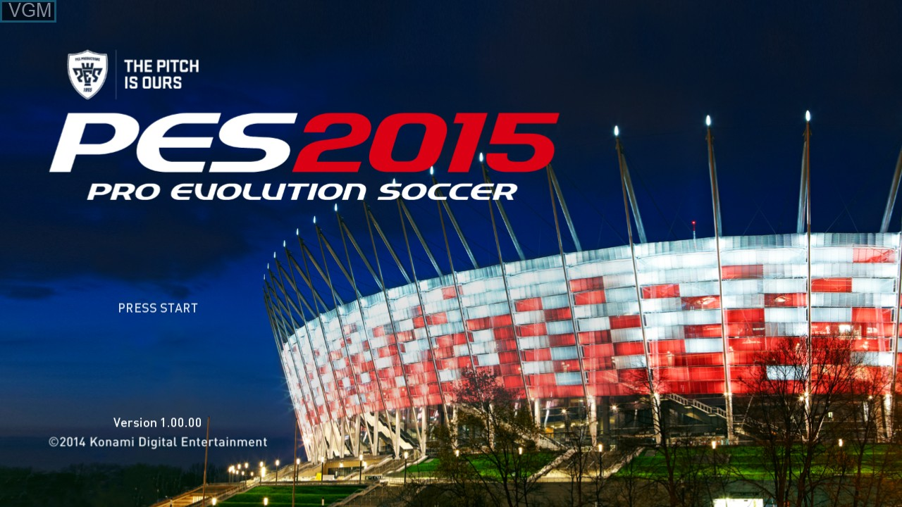Title screen of the game Pro Evolution Soccer 2015 on Microsoft Xbox 360