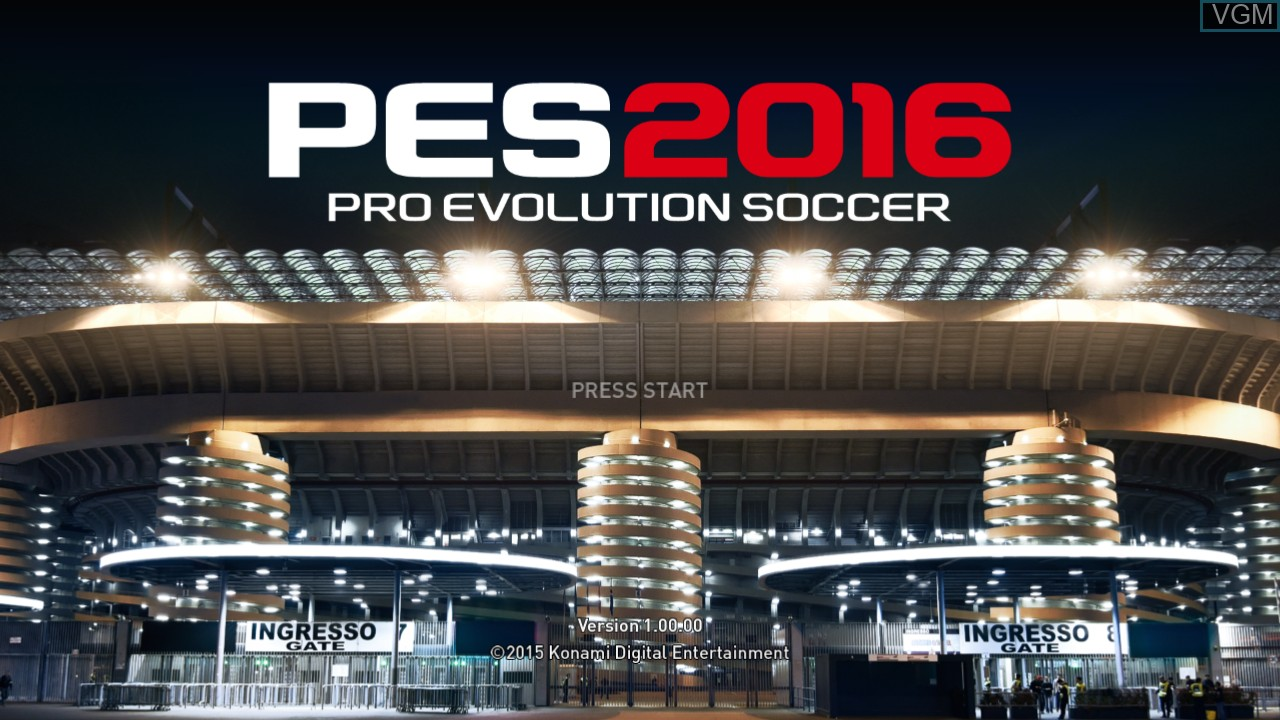 Title screen of the game Pro Evolution Soccer 2016 on Microsoft Xbox 360