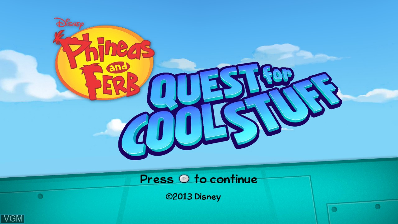 Title screen of the game Phineas and Ferb - Quest for Cool Stuff on Microsoft Xbox 360