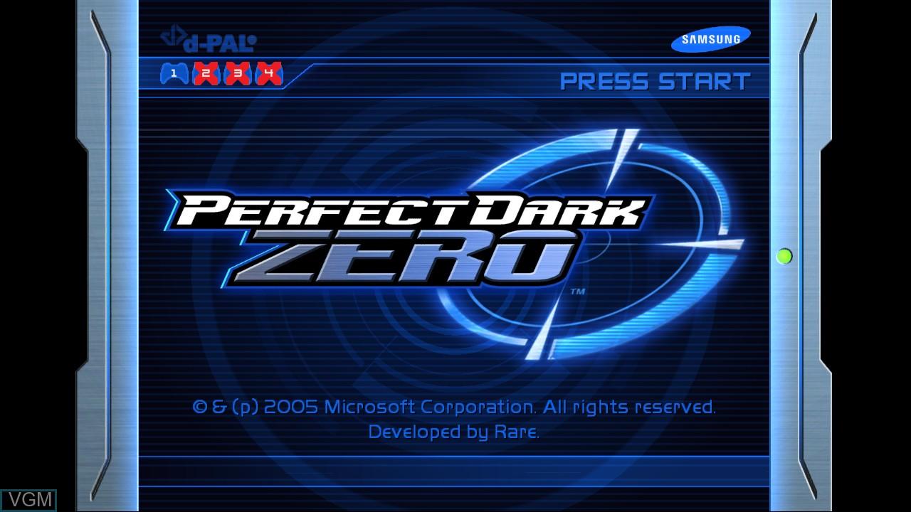 Title screen of the game Perfect Dark Zero on Microsoft Xbox 360