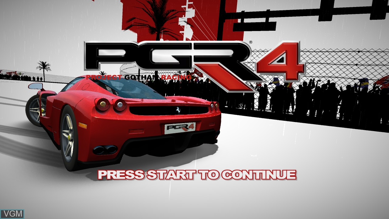 Title screen of the game Project Gotham Racing 4 on Microsoft Xbox 360