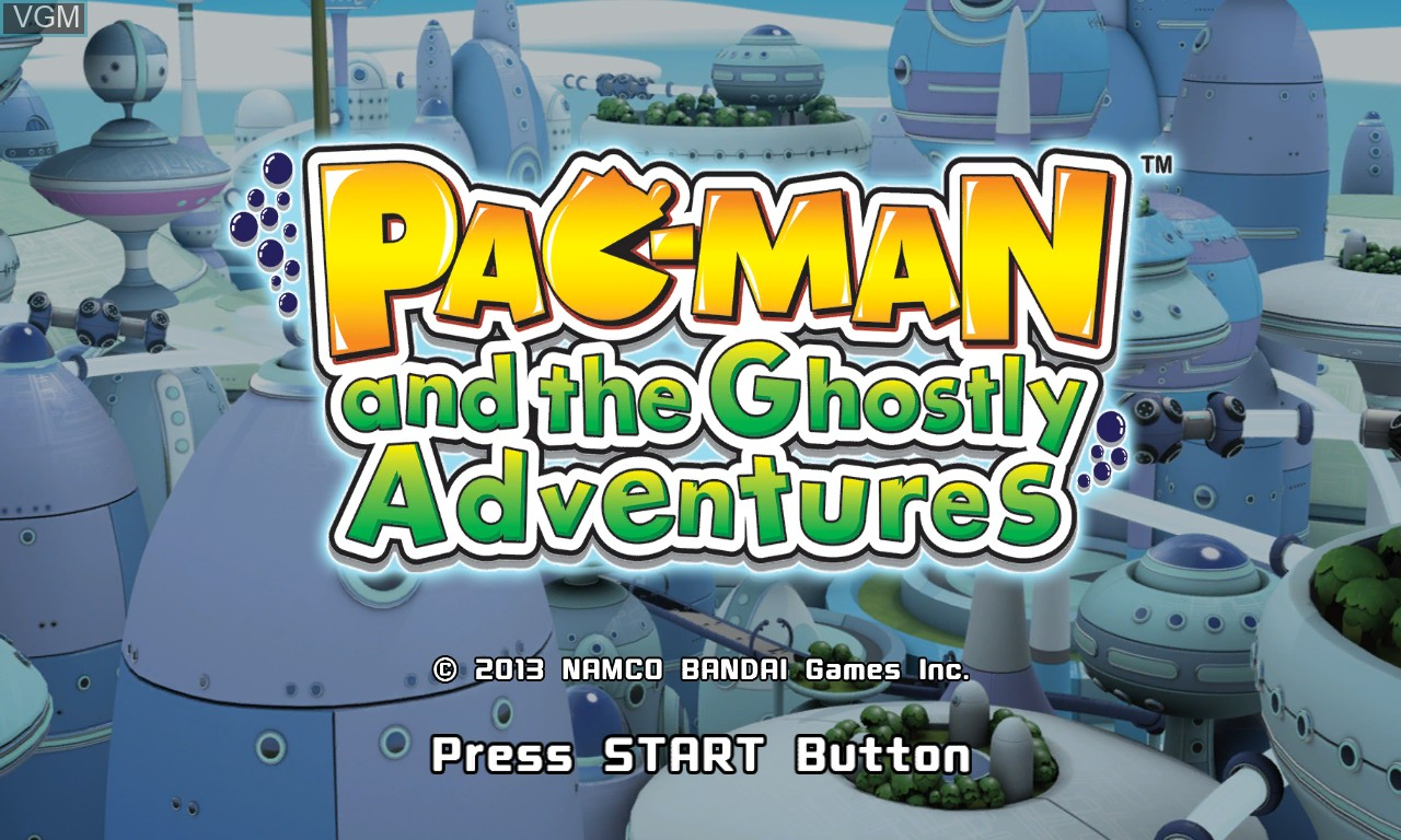 Title screen of the game Pac-Man and the Ghostly Adventures on Microsoft Xbox 360