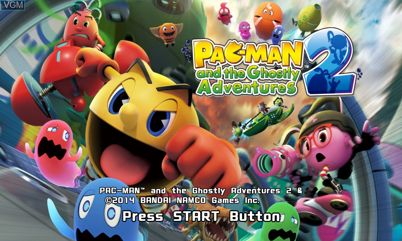 Title screen of the game Pac-Man and the Ghostly Adventures 2 on Microsoft Xbox 360
