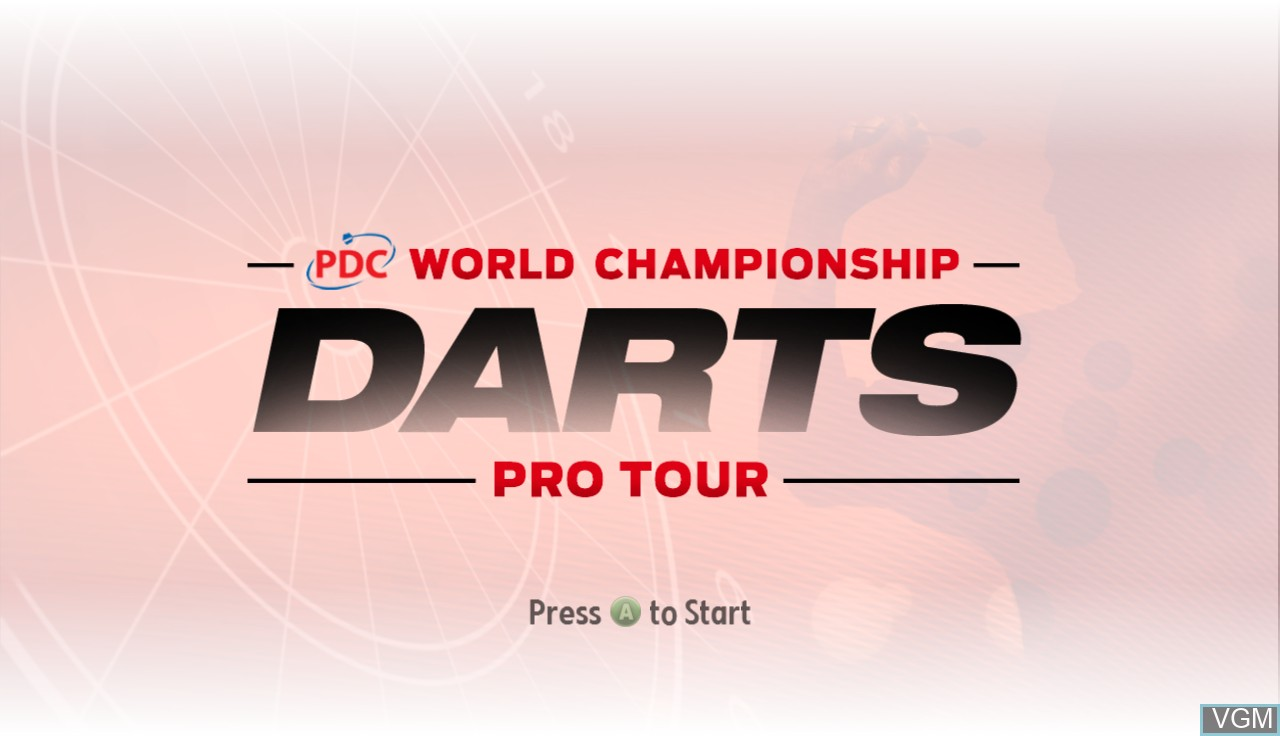 Title screen of the game PDC World Championship Darts - Pro Tour on Microsoft Xbox 360