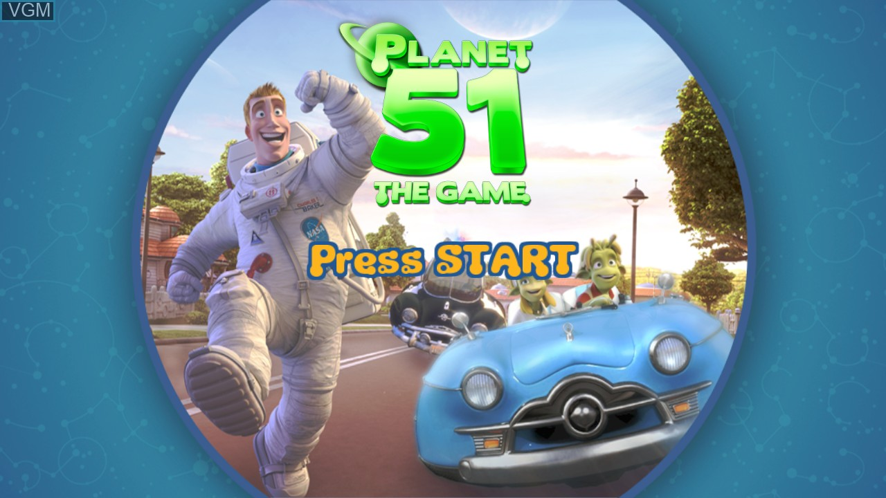 Title screen of the game Planet 51 on Microsoft Xbox 360