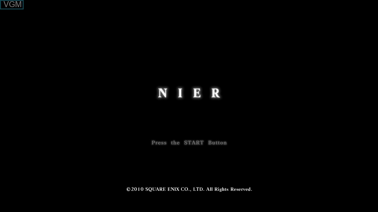 Title screen of the game NIER on Microsoft Xbox 360