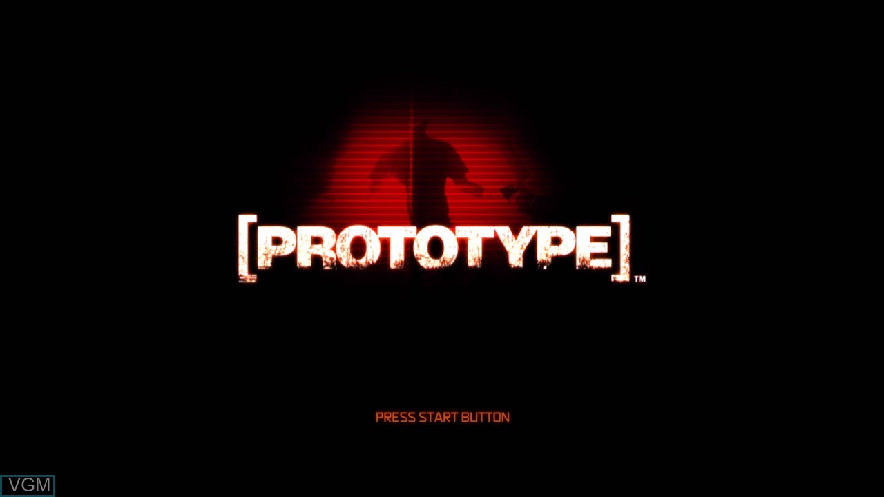 Title screen of the game Prototype on Microsoft Xbox 360