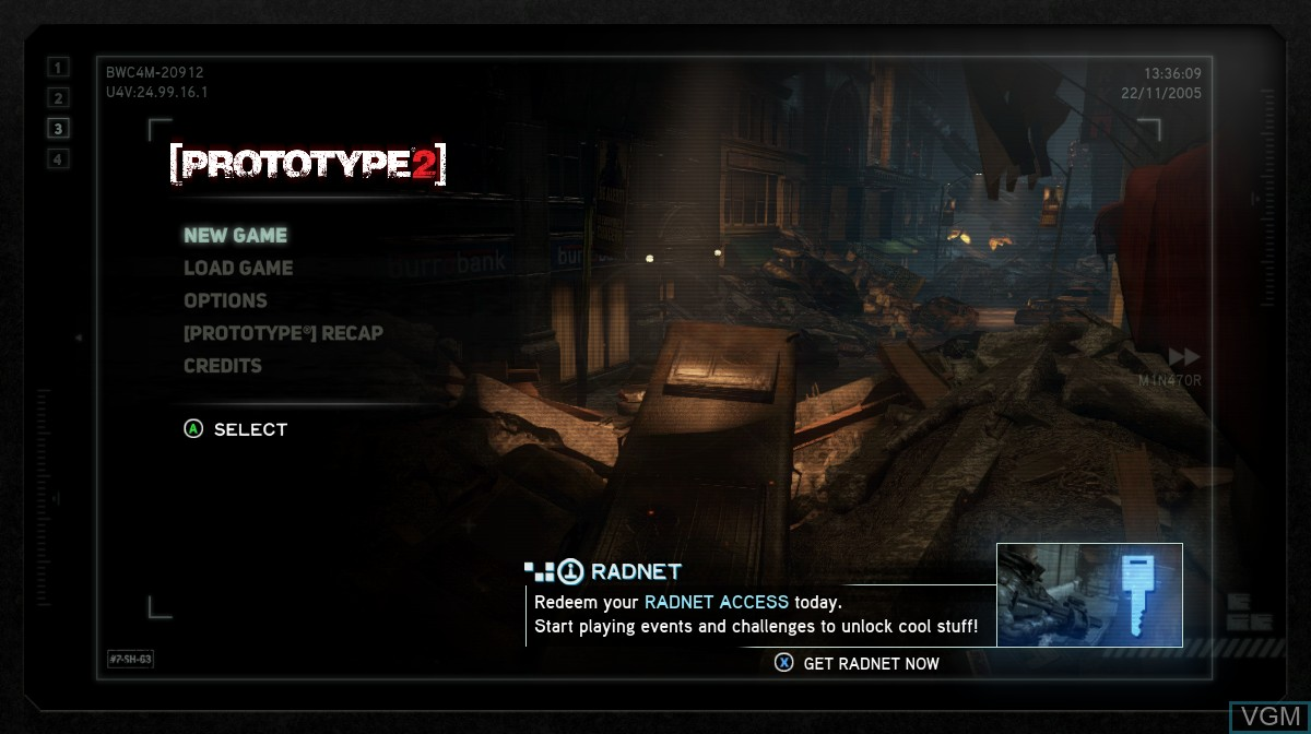 Title screen of the game Prototype 2 on Microsoft Xbox 360