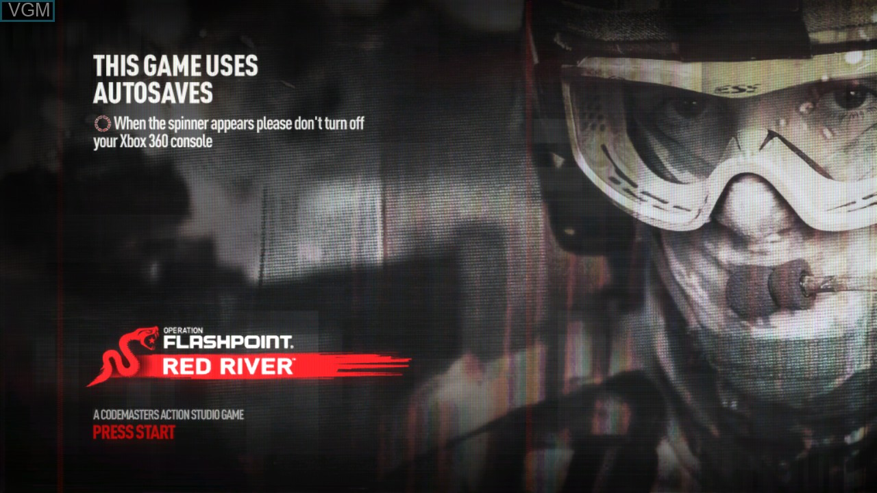 Title screen of the game Operation Flashpoint - Red River on Microsoft Xbox 360