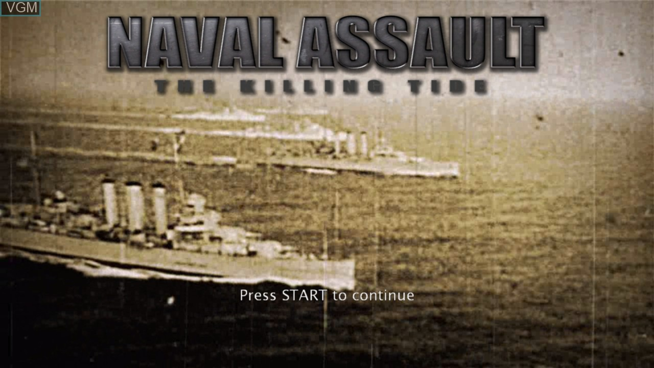 Title screen of the game Naval Assault - The Killing Tide on Microsoft Xbox 360