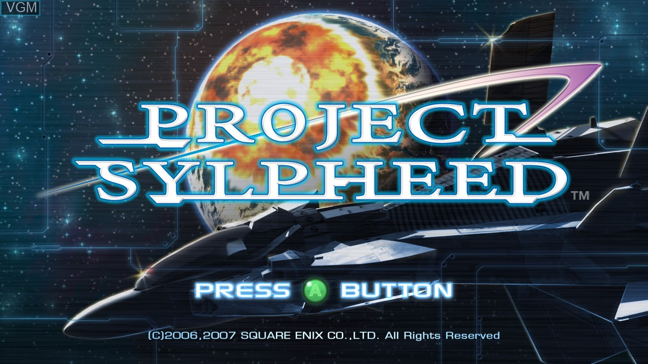 Title screen of the game Project Sylpheed on Microsoft Xbox 360