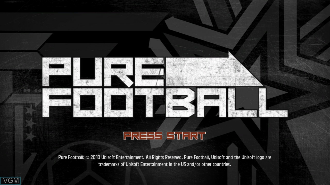 Title screen of the game Pure Football on Microsoft Xbox 360