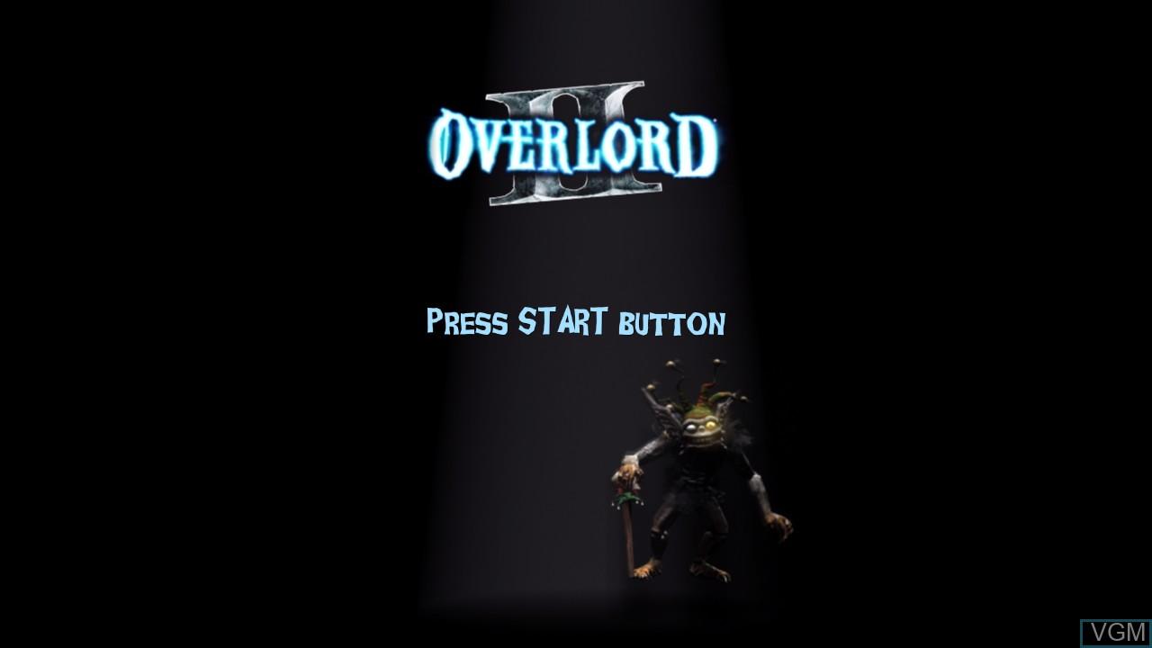 Title screen of the game Overlord II on Microsoft Xbox 360
