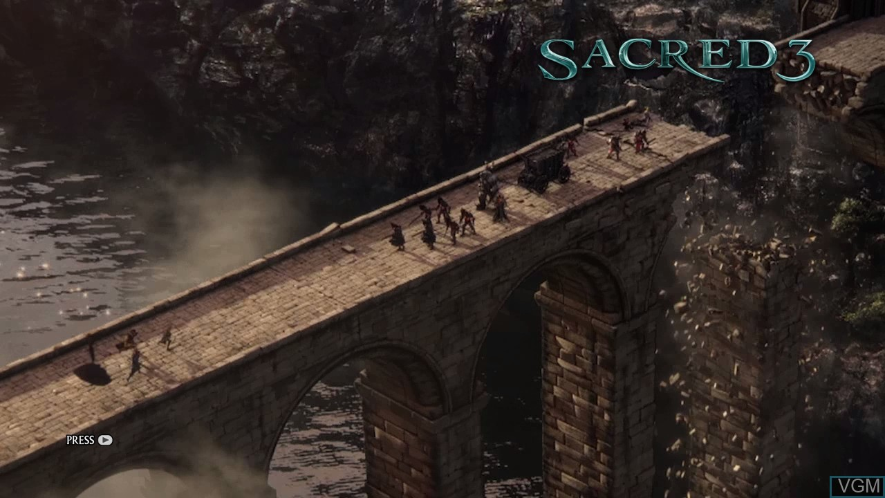 Title screen of the game Sacred 3 on Microsoft Xbox 360