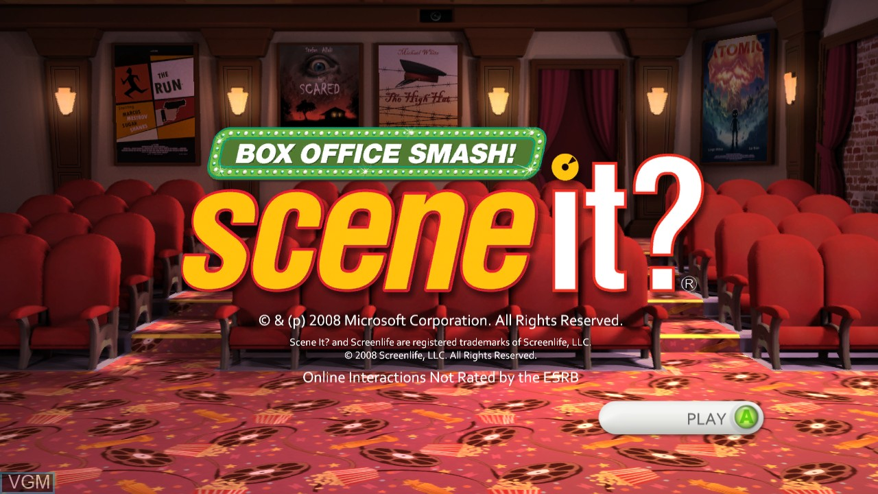Title screen of the game Scene It? Box Office Smash on Microsoft Xbox 360
