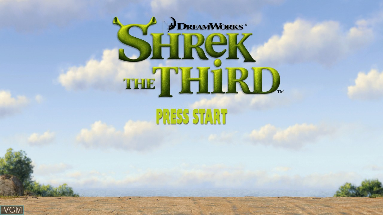 Title screen of the game Shrek the Third on Microsoft Xbox 360